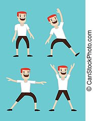 Cartoon Man Warm-up Stretching Exercises - Vector...