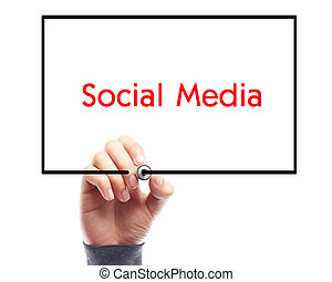 Social Media Concept Whiteboard With Businessman Hand...