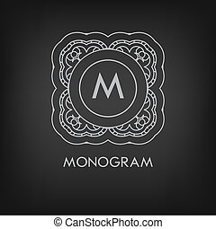Luxury, simple, e, elegante, monocromático, monogram,...