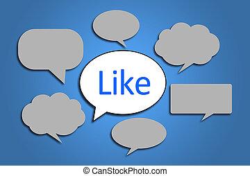 Social Media Concept - Social media concept is on blue...