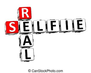 3D Crossword Real Selfie on white background