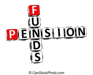 3D Crossword Pension Founds on white background
