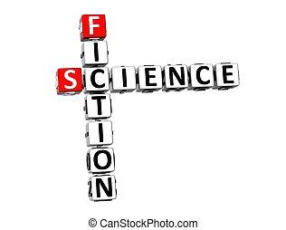 Ciencia, ficción, crucigrama, Plano de fondo, blanco,  3D