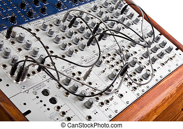 close up of a big modular synthesizer