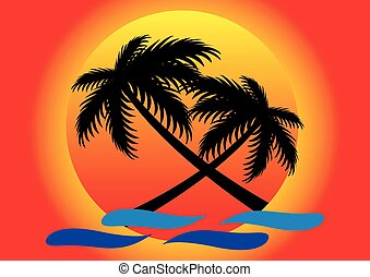 summer sunset and coconut tree