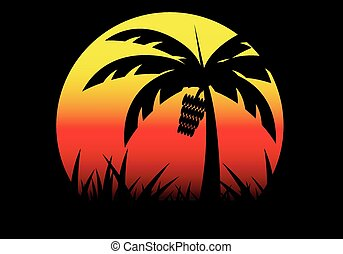 banana tree and sunset background