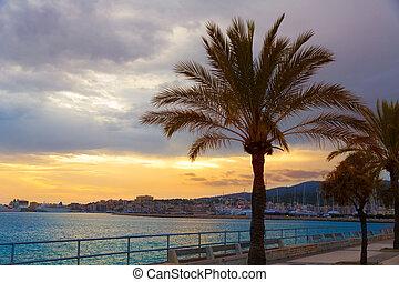 Palma de Mallorca sunset at port in Majorca Balearic islands...