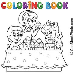 Coloring book Easter topic image 1 - eps10 vector...