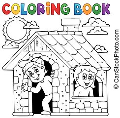 Coloring book children playing in house - eps10 vector...