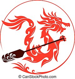 Dragon graphic design with paddles