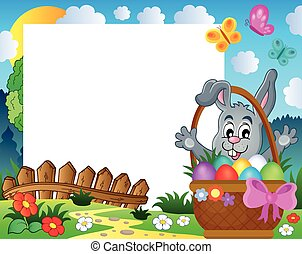 Frame with Easter rabbit theme 3 - eps10 vector...