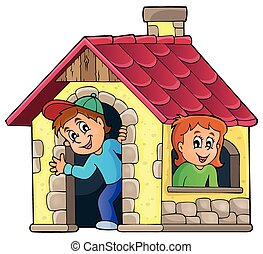 Children playing in small house theme 1 - eps10 vector...