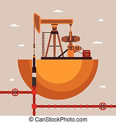 Vector concept of oil well with pipes network