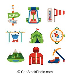 Set of vector colorful hiking icons in flat style - Set of...