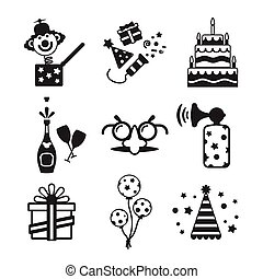 Set of vector monochrome celebration icons in flat style...