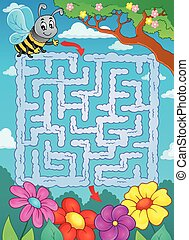 Maze 2 with bee and flowers - eps10 vector illustration
