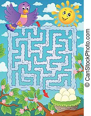 Maze 2 with bird theme - eps10 vector illustration
