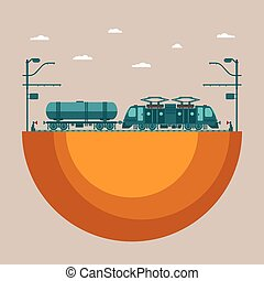 Vector concept of railway transport system with electric...