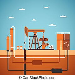 Vector concept of equipped oil well with pipes network tank...