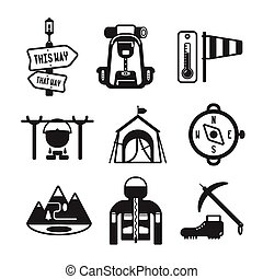 Set of vector monochrome hiking icons in flat style - Set of...