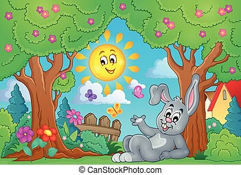 Spring theme with cute bunny