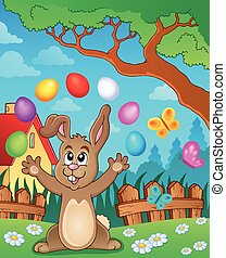 Young bunny with Easter eggs theme 4