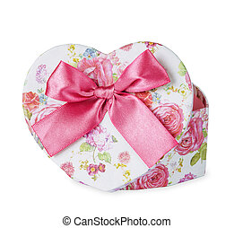 Gift box heart shaped with pink satin bow isolated on white...