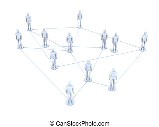 Social Network - Connected People 3D rendered illustration...
