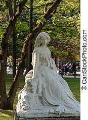 Statue of George Sand in Luxembourg Garden in Paris. France