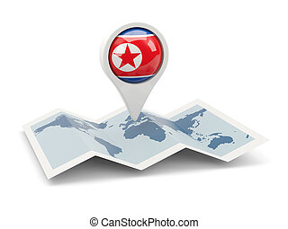 Round pin with flag of north korea on the map