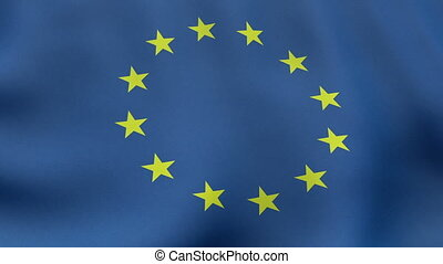 Loopable waving European Union flag animation - Seamlessly...