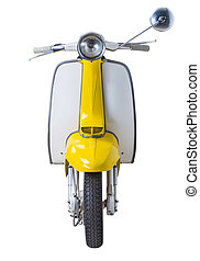 vintage Lambretta - vintage yellow Lambretta isolated on...