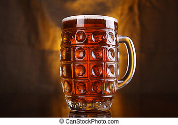 Mug of light beer - Classic mug with light beer with a warm...