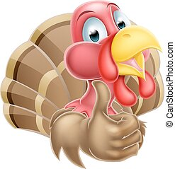 Turkey Thumbs Up Turkey - Happy cartoon turkey mascot giving...