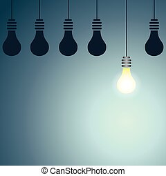 Bright Idea - Vector illustration of dark lights bulbs with...