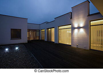 Detached house at night