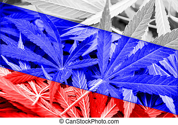 Russia Flag on cannabis background Drug policy Legalization...