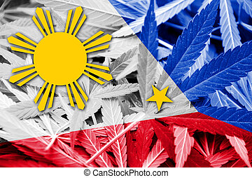 Philippines Flag on cannabis background Drug policy...