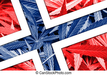 Norway Flag on cannabis background. Drug policy....