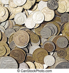 USSR coins closeup background.