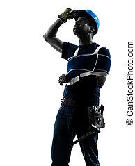 injured manual worker man injury brace silhouette