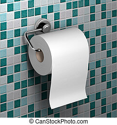 roll of white toilet paper hanging on a chrome toilet roll...