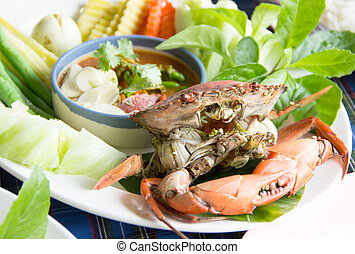 Steamed crab and simmer chili
