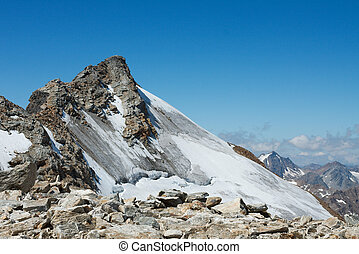 Mountain - High mountain peak with glacier