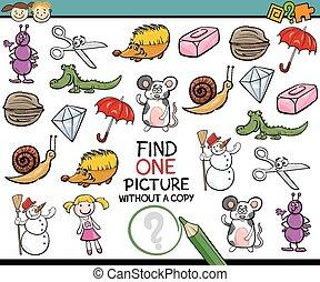 trouver, unique, image, Jeu, dessin animé,