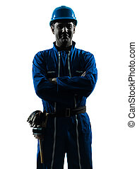 man construction worker smiling silhouette