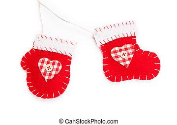 feriado, ornamento, navidad, rojo, media