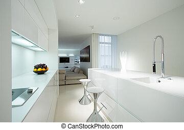 blanco, cocina, en, contemporáneo, casa,