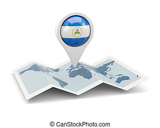 Round pin with flag of nicaragua