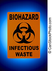 Biohazard Sign - Orange biohazard sign shot in front of...